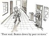 picture of peer  - Cartoon of professor trudging down hallway - JPG