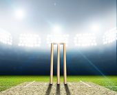 stock photo of illuminating  - A cricket stadium with cricket pitch and set up wickets at night under illuminated floodlights - JPG