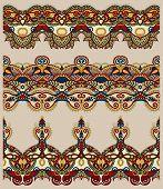 stock photo of tribal  - seamless ethnic floral paisley stripe pattern - JPG