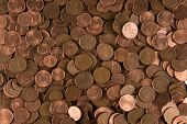 picture of copper coins  - Background texture of one two and five euro coins - JPG