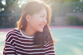 stock photo of emotions faces  - portrait young beautiful woman smiling with happy face - JPG