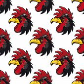 foto of black-cock  - Cartoon cock or rooster seamless pattern with a repeat motif of the side view of its head with a colorful red comb and wattle - JPG