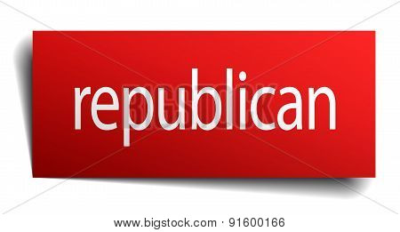 Republican Red Paper Sign On White Background