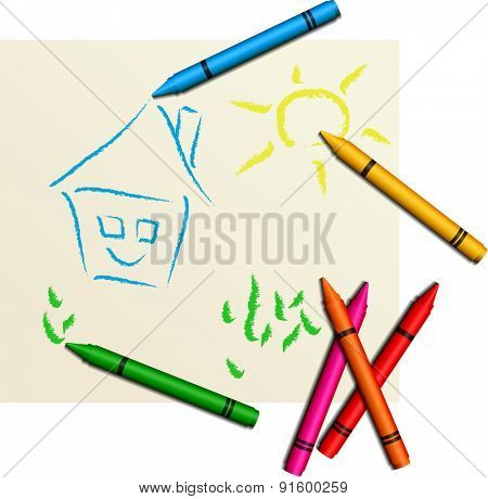 Multicolored cute children's drawing - vector illustration