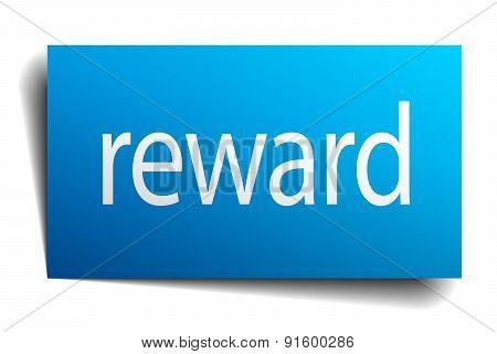 Reward Blue Paper Sign On White Background