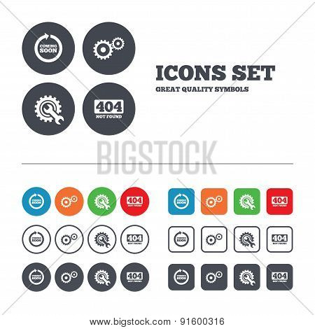 Coming soon icon. Repair service tool and gear.