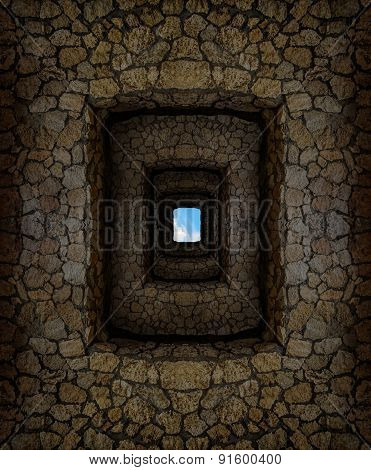 Dungeon With Stone Walls And Light Window High Above