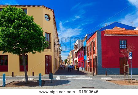 TENERIFE ISLAND, SPAIN . Beautiful colorful buildings