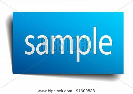 Sample Blue Square Isolated Paper Sign On White