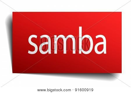 Samba Red Paper Sign On White Background
