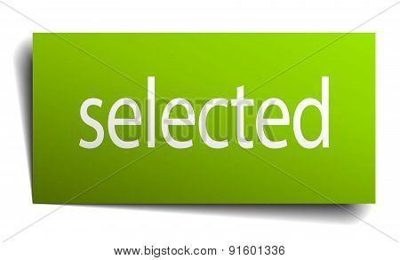 Selected Square Paper Sign Isolated On White