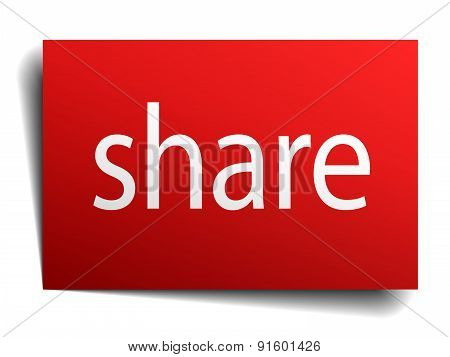 Share Red Paper Sign Isolated On White