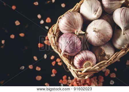 Garlic Close Up With Pink Himalayan Salt