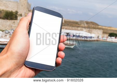 Hand Holding Smart Phone On Travel