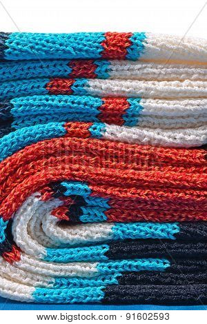 Stack Of Colourful Knitted Closeup