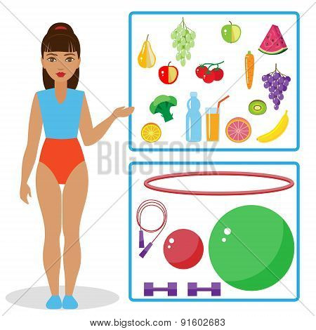 Girl,  Healthy Diet And Equipment For Fitness.