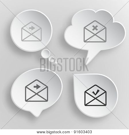 Mail set. White flat vector buttons on gray background.