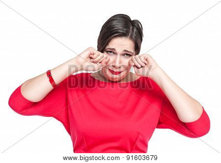 Crying Beautiful Plus Size Woman In Red Dress Isolated
