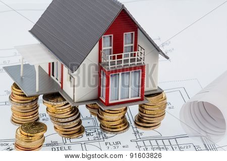 residential house on blueprint, symbolfoto for house construction, financing, building society