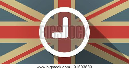 Uk Flag Icon With A Clock