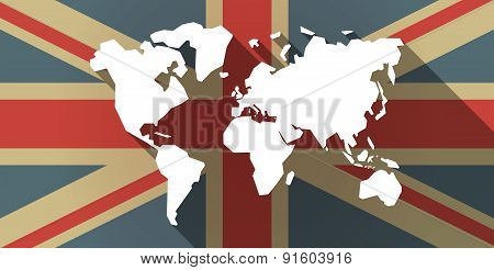 Uk Flag Icon With A World Map