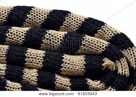 Stack Of Striped Knitted Fabric