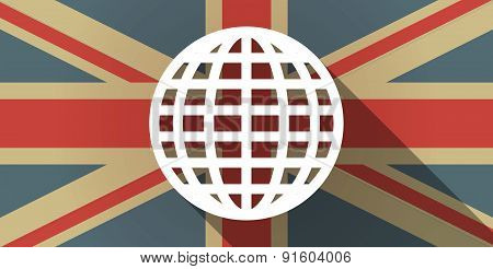 Uk Flag Icon With A World Globe