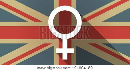 Uk Flag Icon With A Female Sign