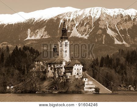 Church On The Island Of Lake Bled In Slovenia
