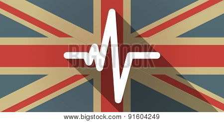 Uk Flag Icon With A Heart Beat Sign