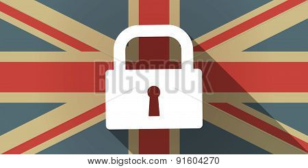 Uk Flag Icon With A Lock Pad