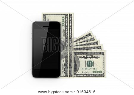 Smart Phone And Hundred Banknotes