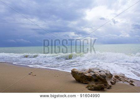 Wave And Stone. Crimean Black Sea Coast