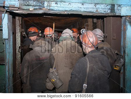 Gorlovka, Ukraine - February, 26, 2014: Miners Of The Mine Named After Kalinin Down In Underground M