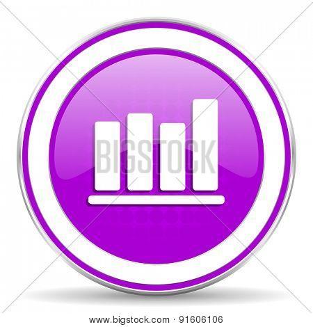 bar chart violet icon