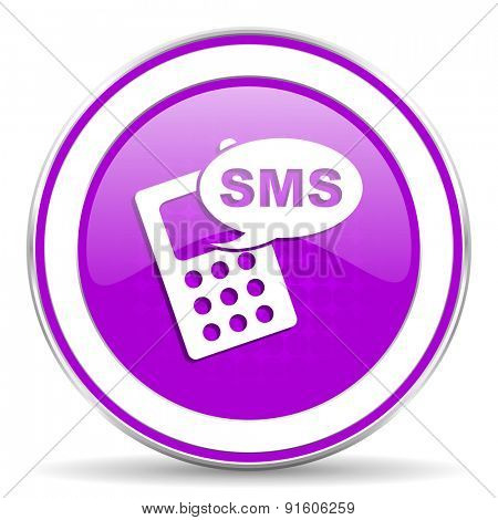 sms violet icon phone sign