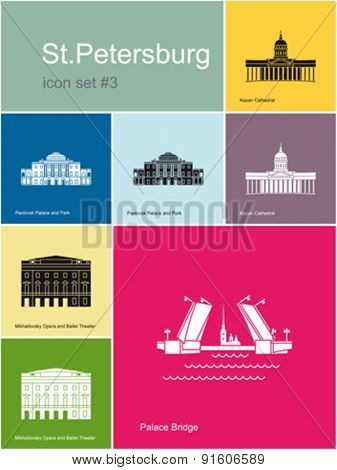 Landmarks of St.Petersburg. Set of color icons in Metro style. Editable vector illustration.