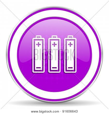 battery violet icon power sign