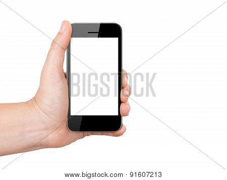 Smart Phone With Blank Screen Holding By Hand