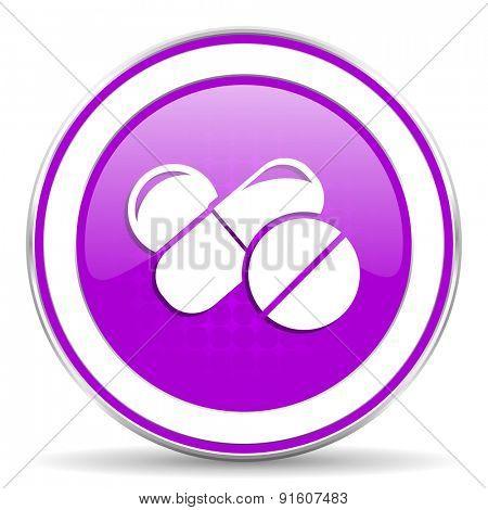 medicine violet icon drugs symbol pills sign