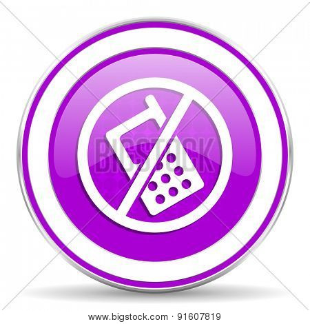 no phone violet icon no calls sign