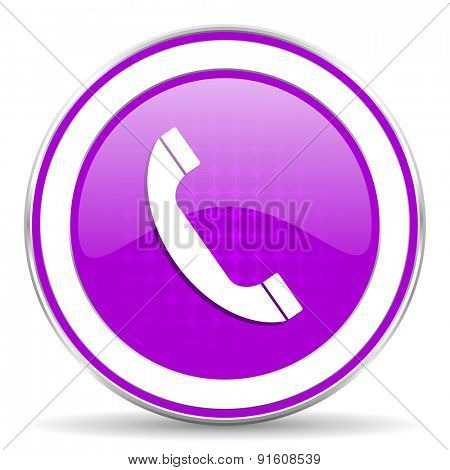 phone violet icon telephone sign