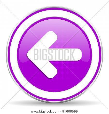 left arrow violet icon arrow sign