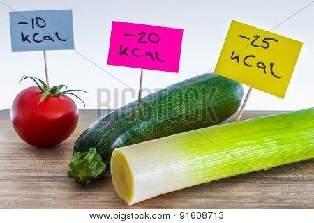 Negative calorie food; leeks, zucchini and tomato