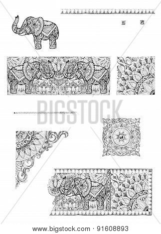 A Set Of Decorative Frames And Design Elements For Cards, Wedding Invitations, Menus, Tattoo