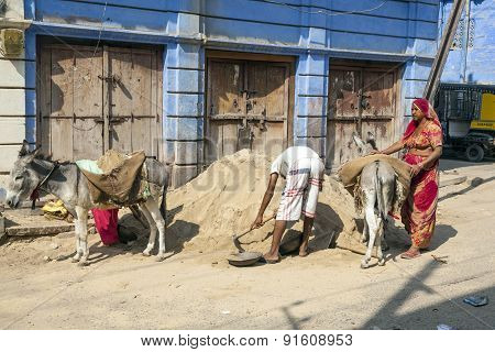 Donkeys Are Used To Transport Heavy Goods Up To The Construction Site