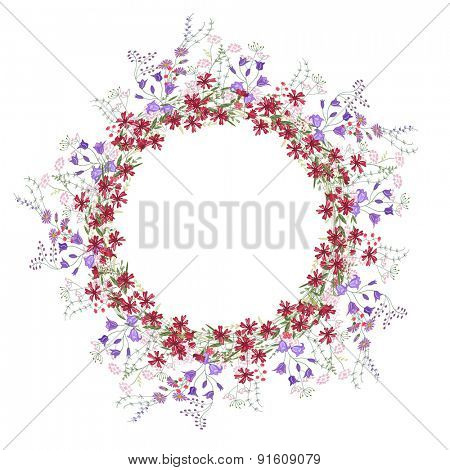 Detailed contour wreath with bluebells, carnations and wild flowers isolated on white. Round frame for your design, greeting cards, announcements, posters.