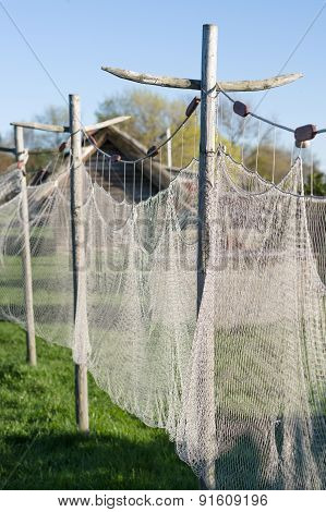 Old Style Fishing Net Hanging To Dry Closeup