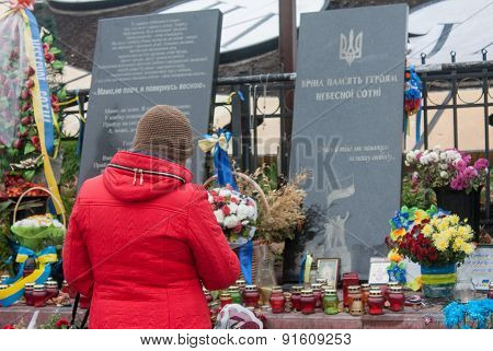 Kiev, Ukraine - October, 04, 2014: Makeshift Memorial At Maydan Nezalezhnosti Square In Kiev After R
