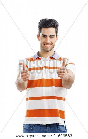 Portrait of happy handsome young man with arms up,  isolated on white background